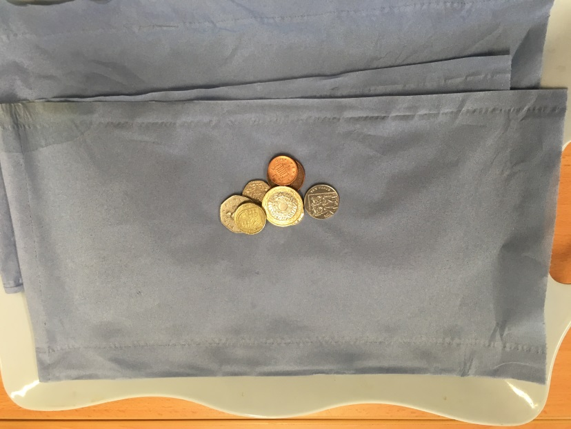 coins on cloth